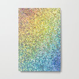 Turquoise Ombre Glitter Metal Print