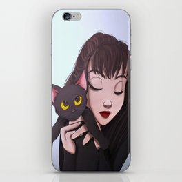 Girl with Cat iPhone Skin