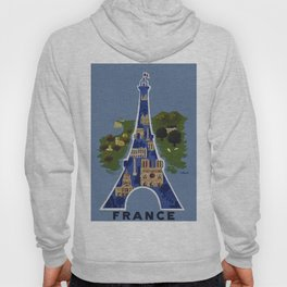 Vintage France Eiffel Tower Travel Poster Hoody