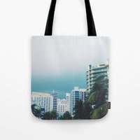 miami Tote Bags featuring Miami  by Anna Zurowska