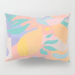 Lemons in Amalfi / Abstract shapes, Pink, Turquoise, Yellow, Lavender Pillow Sham