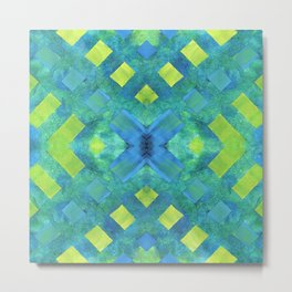 Green and blue geometric abstract motif, hand painted elements Metal Print