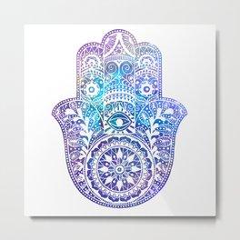 Space Hamsa Hand - I Metal Print