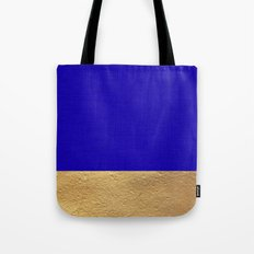 Color Blocked Gold & Cerulean Tote Bag
