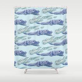 Mt. Craiului-Distant Snow- 遠雪 : linocut Shower Curtain