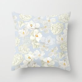 White Floral on Pale Blue Throw Pillow