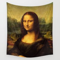 mona lisa Wall Tapestries featuring Mona Lisa by Elegant Chaos Gallery