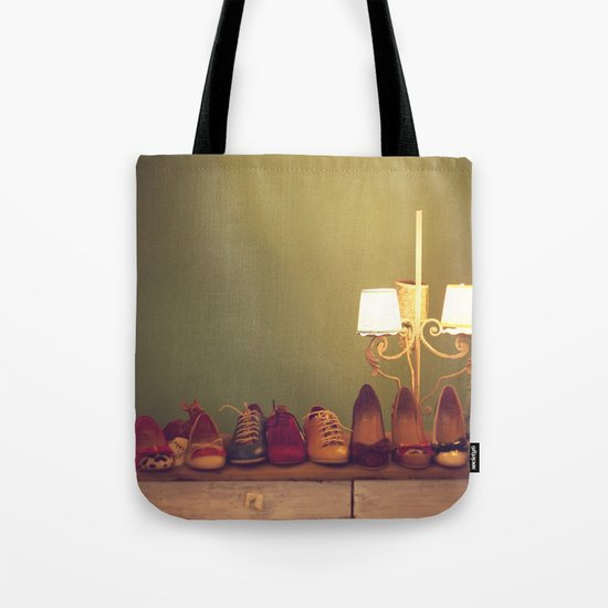 Dancing Shoes and Heels (retro and vintage girly shoes and heels with a lovely lamp) Tote Bag