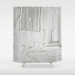 Relief [3]: an abstract, textured piece in white by Alyssa Hamilton Art  Shower Curtain
