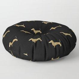 Dachshund Dog Gold Glitter Pattern Floor Pillow