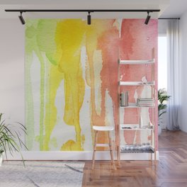 Rainbow Watercolor Texture Pattern Abstract Wall Mural