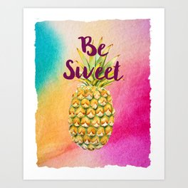 Watercolor Pineapple - Be Sweet Pink Gold Pineapple Art Print