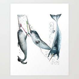 N is for Narwhals! The Laugh-A-Bit Alphabet animal letter N - ABCs by BirdsFlyOver Art Print