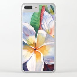 Tropical Plumeria Flowers Clear iPhone Case