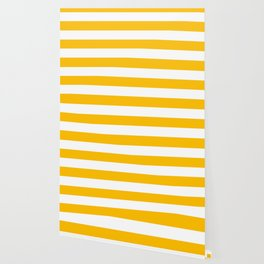 Amber - solid color - white stripes pattern Wallpaper