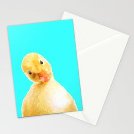 Duckling Portrait Turquoise Background Stationery Cards