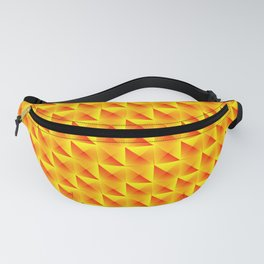 Pyromidal pattern of orange squares and striped yellow triangles. Fanny Pack