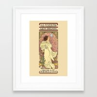 french Framed Art Prints featuring La Dauphine Aux Alderaan by Karen Hallion Illustrations