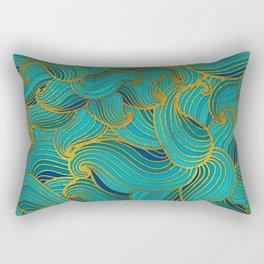 Golden Embossed  Swirl Wave Pattern on Blue Rectangular Pillow