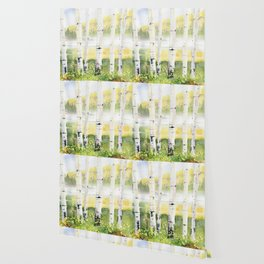Behind The Birch Trees Wallpaper