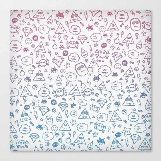 Cute & Sweet Monsters / Funny Clouds and Diamonds Canvas Print