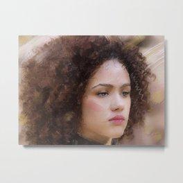 Portrait of Nathalie Emmanuel Metal Print