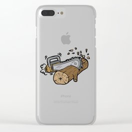 CHAINSAW CUTTING WOOD forester warden gift present Clear iPhone Case