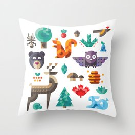 Geometric animals in forest Throw Pillow