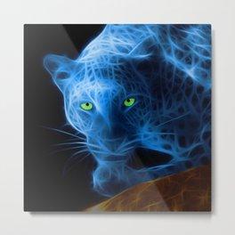 Blue Leopard Metal Print
