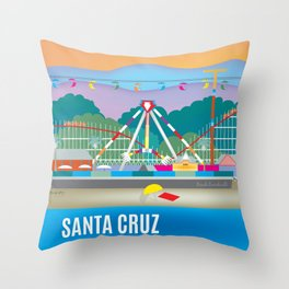 Santa Cruz, California - Skyline Illustration by Loose Petals Throw Pillow
