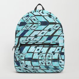 Three Dimensional Geometric Blue Patchwork Print Backpack