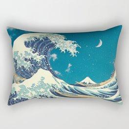 Great Wave Off Kanagawa and Starry Sky Rectangular Pillow