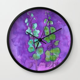Hollyhock Foxglove Watercolor Indigo Turquoise Moss Wall Clock