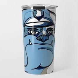 Bulldog Policeman Head Drawing Travel Mug