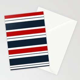 Red, White, and Blue Horizontal Striped Stationery Cards