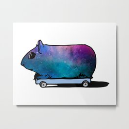 Cosmic Guinea Pig on Wheels Metal Print