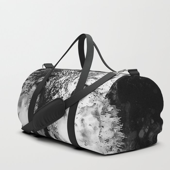 wolf splatter watercolor black white Duffle Bag