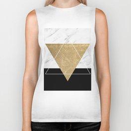 Golden marble deco geometric Biker Tank