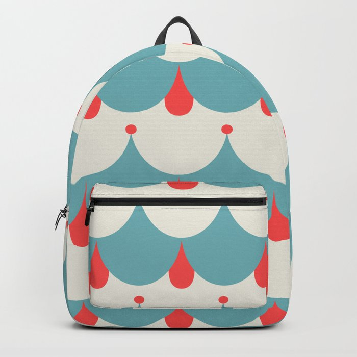 Retro. Blue and white . Backpack