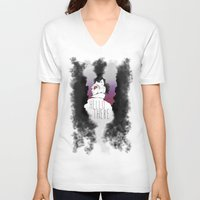 catwoman V-neck T-shirts featuring Catwoman ♥ by KanaHyde