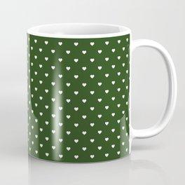 Small White Polka Dot Hearts on Dark Forest Green Coffee Mug