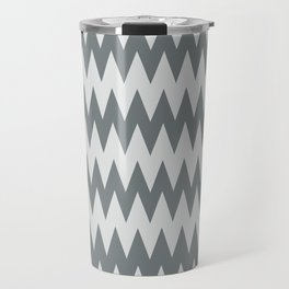 Night Watch Pewter Green and White Zigzag Pointed, Rippled Horizontal Line Pattern Travel Mug