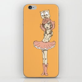 Girl in Skirt with Owl on Head by RonkyTonk iPhone Skin