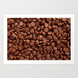 Delicious milk chocolate chips Art Print