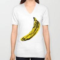 banana V-neck T-shirts featuring Banana by June Chang Studio