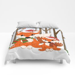 Cute Foxes with Santa hats in a snowy winter world Comforters