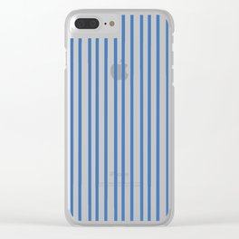 Modern summer trend sky blue white stripes pattern Clear iPhone Case