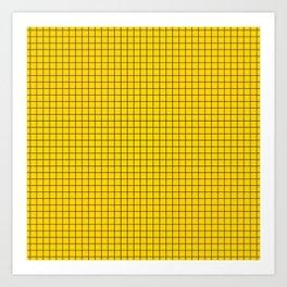 Yellow Grid Black Line Art Print