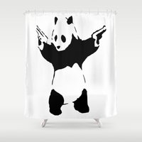 banksy Shower Curtains featuring Banksy Panda1 by vie3