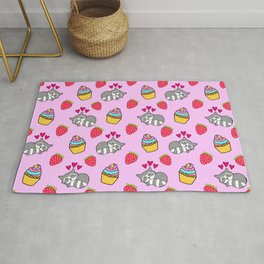 Cute happy sleeping dreaming Kawaii baby raccoon, sweet red summer strawberries and colorful rainbow yummy cupcakes light bright pastel pink design. Rug